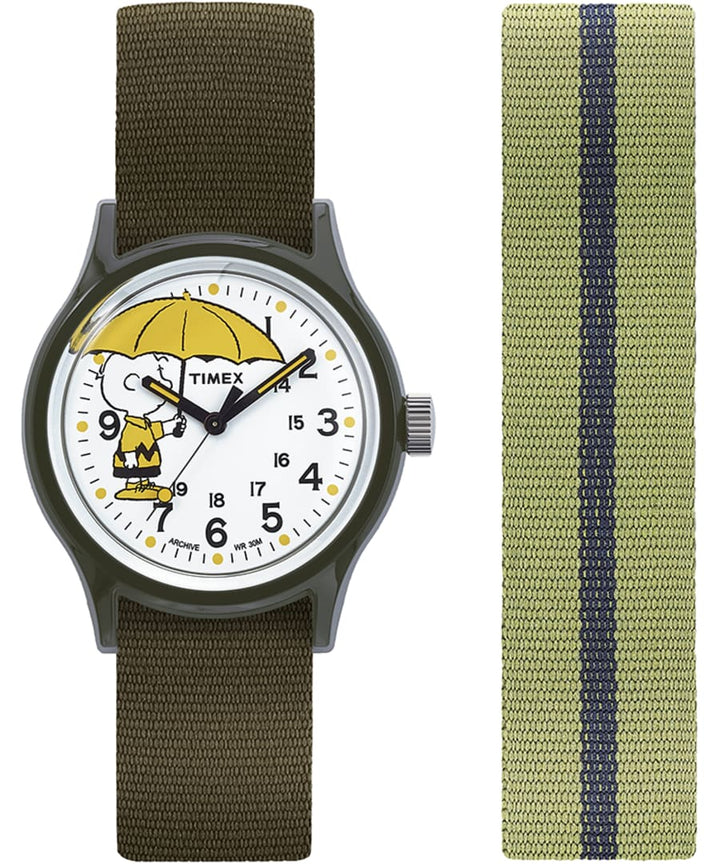 Timex MK1 x Peanuts Featuring Charlie Brown 36mm Fabric Strap Watch Box Set