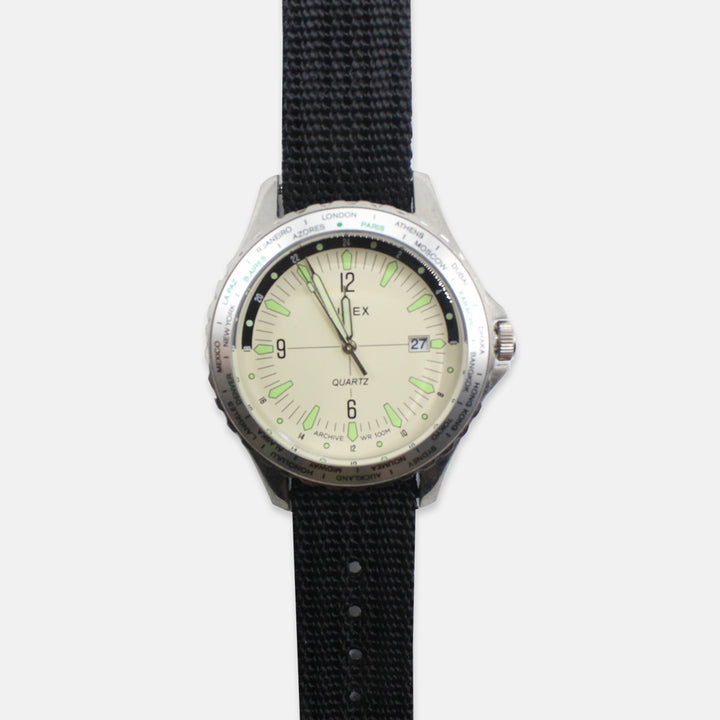Timex Archive Navi World Time 38mm Fabric Strap Watch - Cream