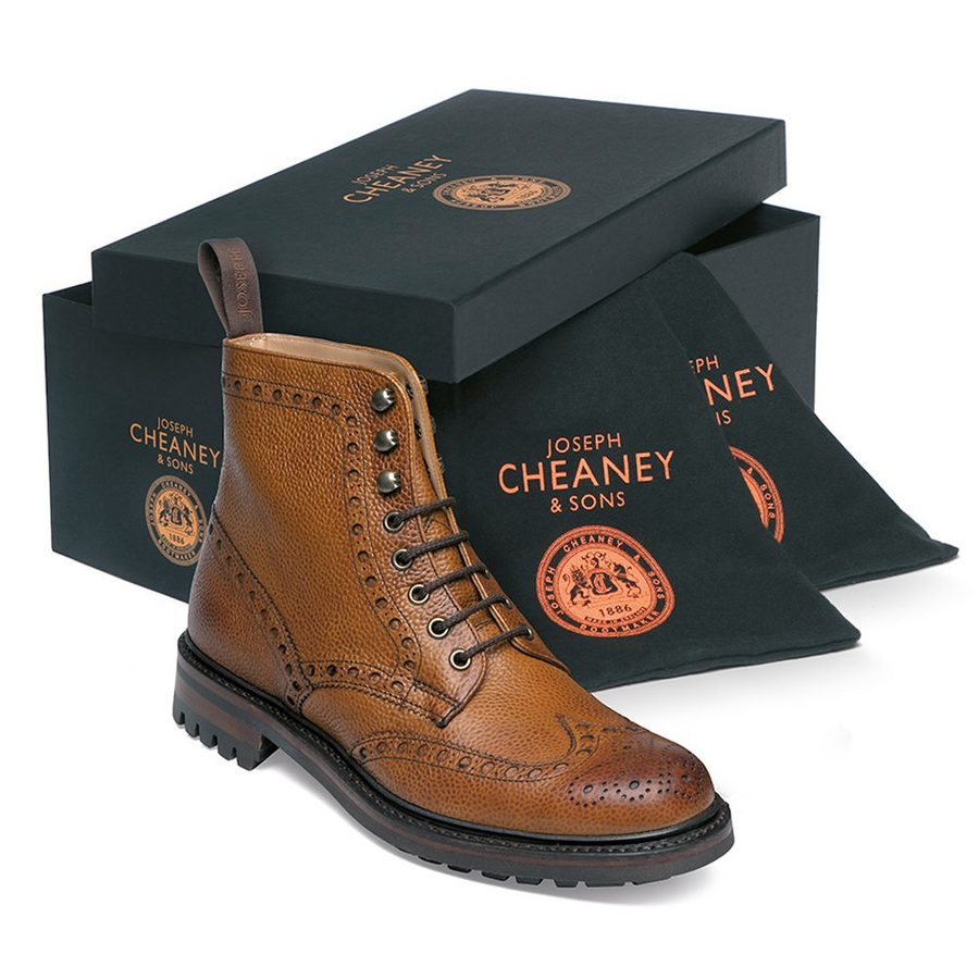 Joseph Cheaney & Sons Tweed C Wingcap Brogue Country Boot - Almond Grain Leather