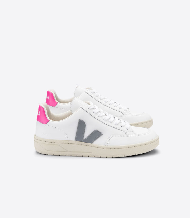 Veja Women V-12 Trainer - Leather Extra White/Oxford Grey/Sari