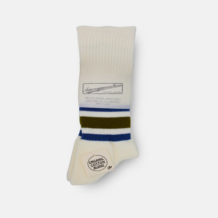 Anonymous-Ism Organic Cotton Ankle Line Crew Sock - Blue