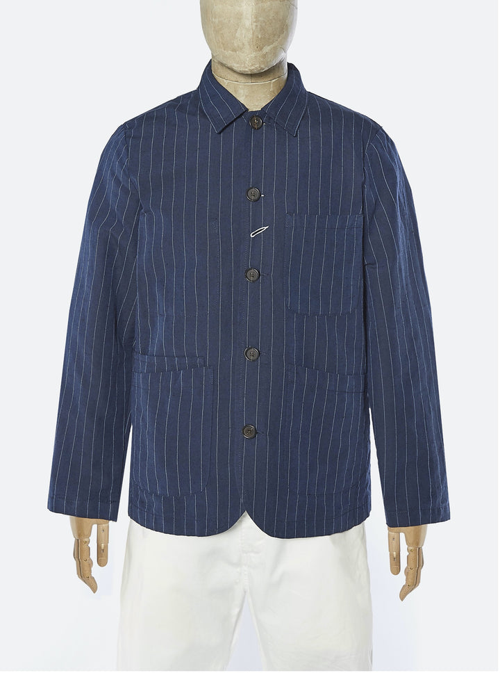 Universal Works Bakers Jacket - Navy Linen/Cotton Stripe