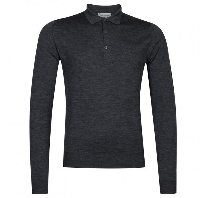John Smedley Belper 100% Wool Long Sleeve Polo - Charcoal