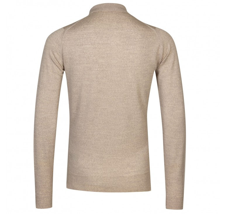 John Smedley Belper 100% Wool Long Sleeve Polo - Beige