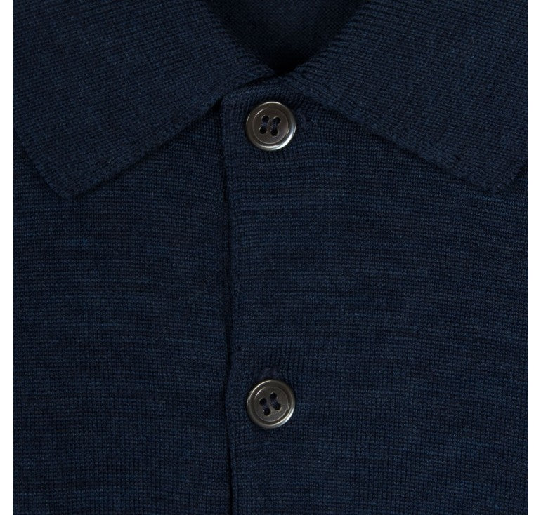 John Smedley Belper 100% Wool Long Sleeve Polo - Indigo