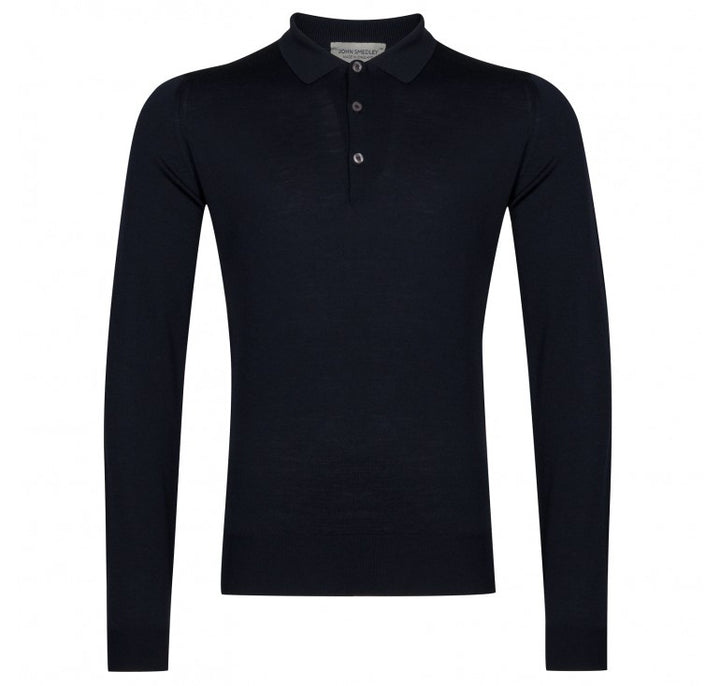 John Smedley Belper 100% Wool Long Sleeve Polo - Midnight