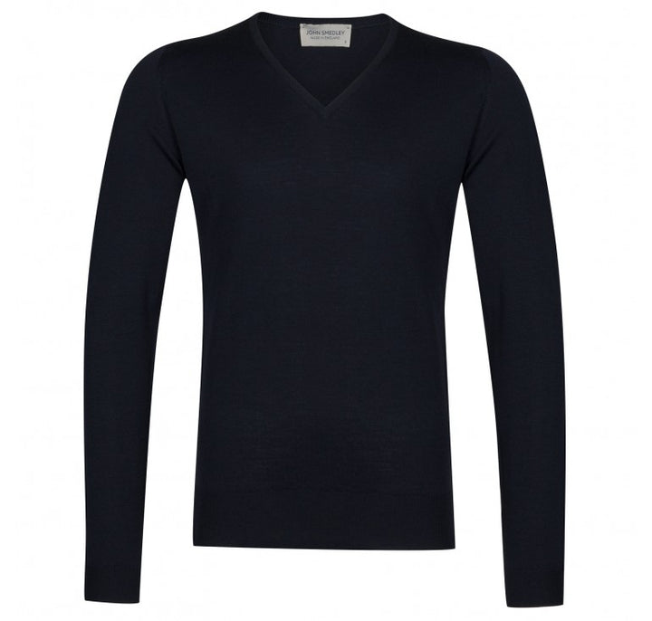 John Smedley Blenheim V Neck Pullover 100% wool - Midnight