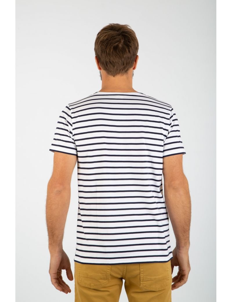 Armor-Lux Short Sleeve Sailor Shirt - White/Navy