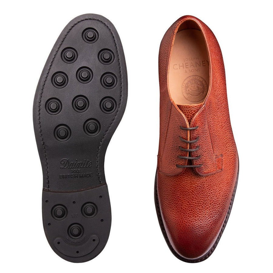 Joseph Cheaney & Sons Deal II R Derby Shoe - Mahogany Grain Leather
