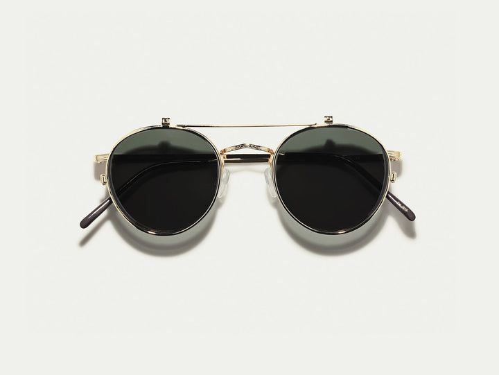Moscot Eyewear Drey Clip Package 4821: Gold Frame, Demo Lenses