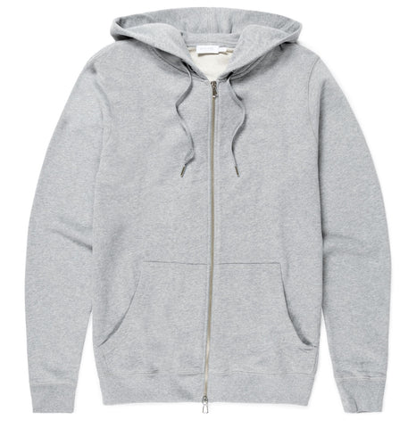 Sunspel Zip-Up Hoody - Grey Melange