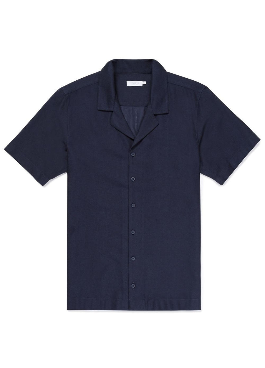 Sunspel Short Sleeve Collar Shirt - Navy