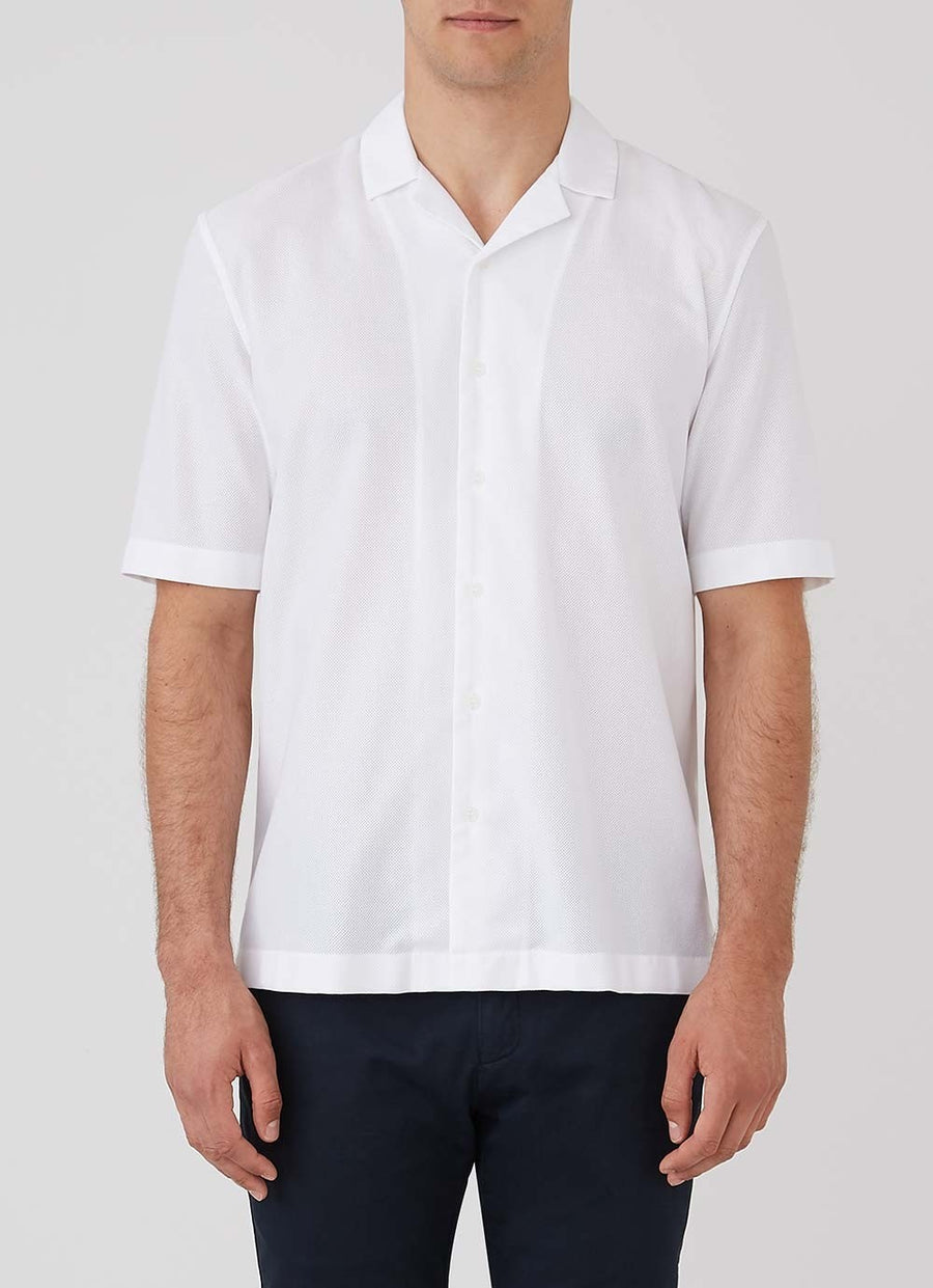 Sunspel Short Sleeve Collar Shirt - White