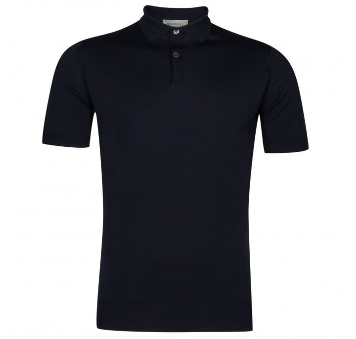 John Smedley 100% Merino Payton Short Sleeve Polo - Midnight