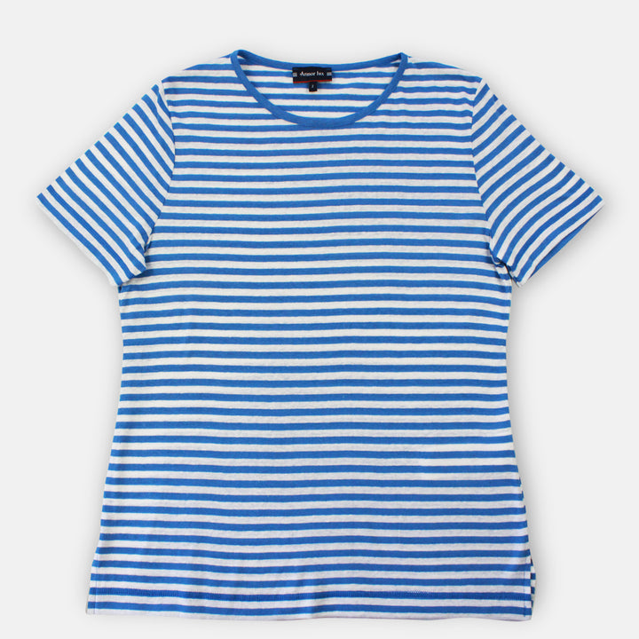Armor-Lux Women Stripe T-Shirt - Lapis/White