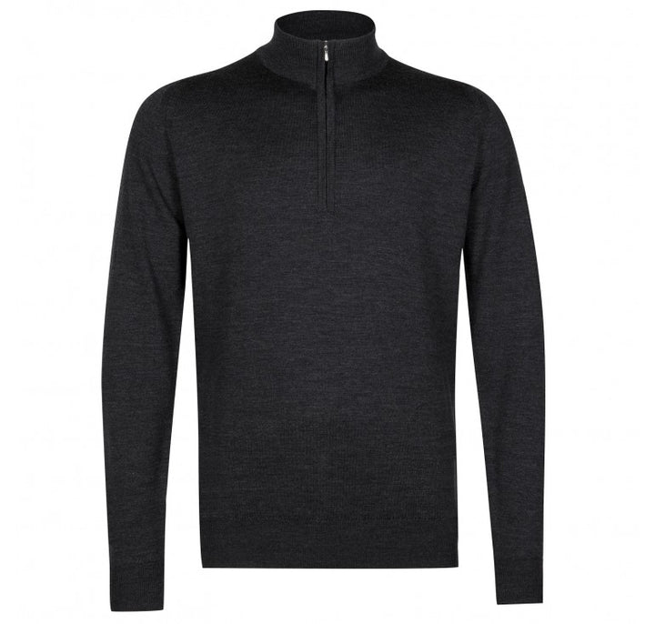 John Smedley Tapton Half Zip Pullover - Charcoal