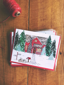 Santa's House Christmas Card