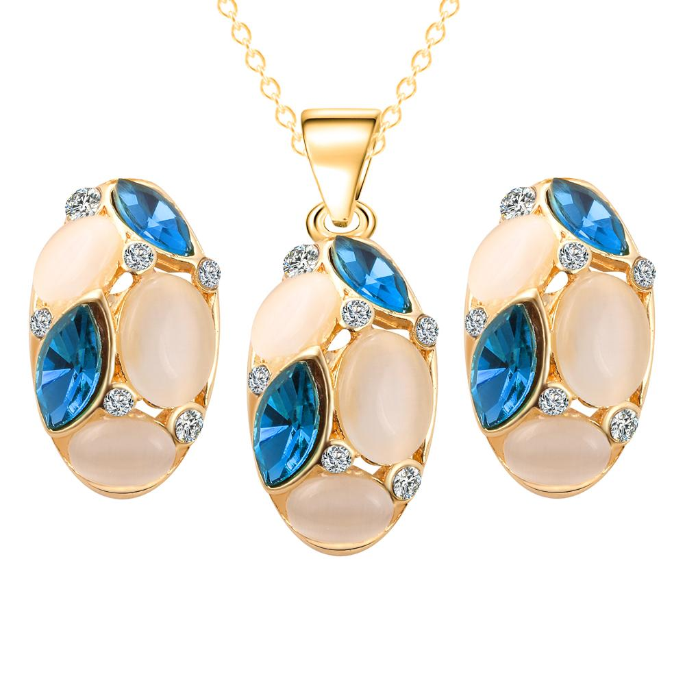 Brand Design Cute Opal Jewelry Sets Pendant Necklaces Earrings For Women Wedding Color Crystal Jewelry parure bijoux femme