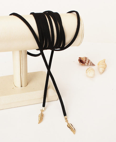 Black Leather Leaf Necklace