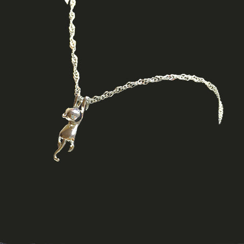 Silver Hanging Cat Pendant