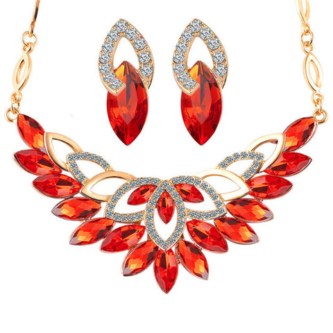 Crystal Leaf Jewelry Set