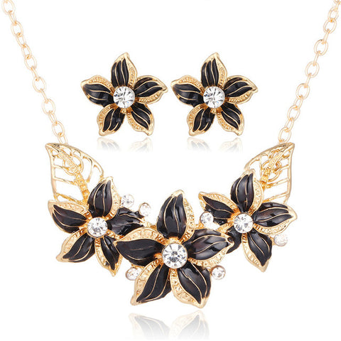 Crystal Flower Jewelry Set