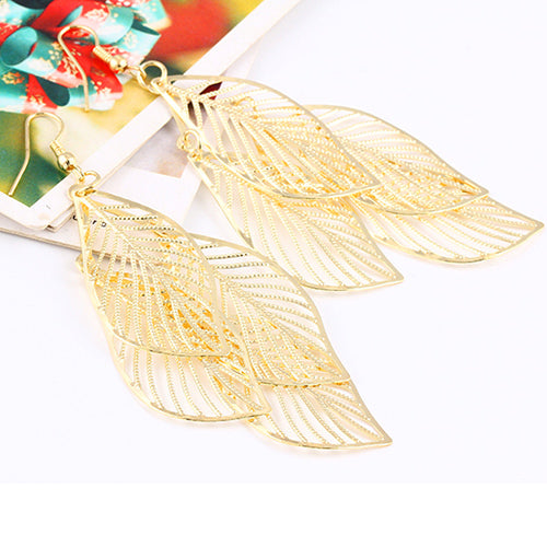 Hollow Leaf Drop Earrings