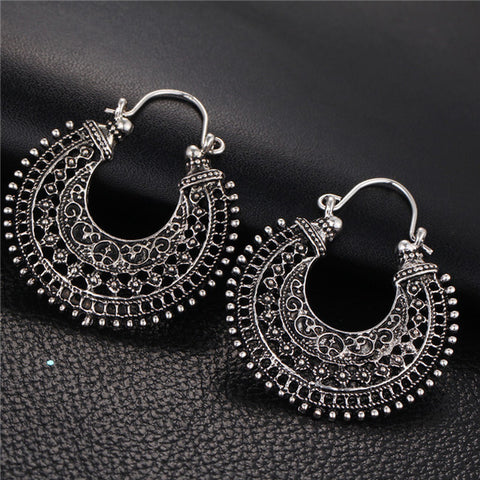 17KM New Hollow Out Double Sides Tibetan Silver Color Hoop Fashion Vintage Earrings For Women Wholesale Jewelry Drop Shipping