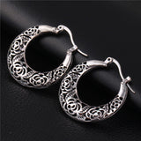 Hollow Flower Hoop Earrings