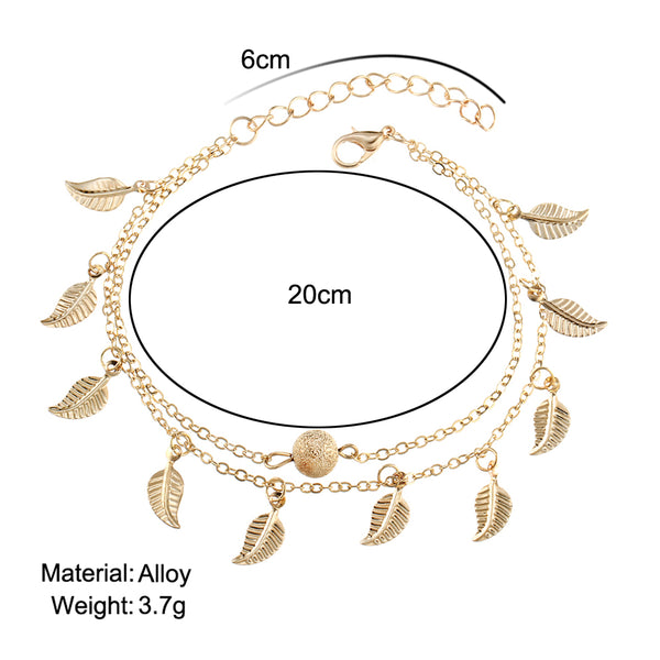 17KM Summer Beach 2 Color Double Leaves Pendant Anklet Foot Chain Bohemian Handmade Beads Anklets Foot Gothic Boho Jewelry