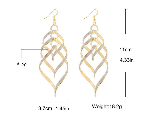 17KM New Brand Design Fashion Elegant Classic Punk Gold Color Spiral Pendant Drop Earrings Jewelry For Women Wholesale