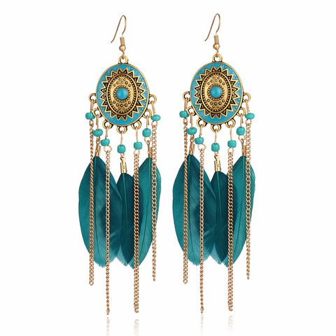 17KM 2016 Bohemia Vintage Women Long Feather Drop Earrings Tassel Bead Ethnic Indian Charm Brincos Jewelry Pendientes Bijoux