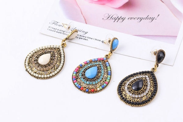 17KM Christmas gifts Female fashion Wedding party Charm jewelry  Vintage Bohemian beads heart pendant drop earrings women