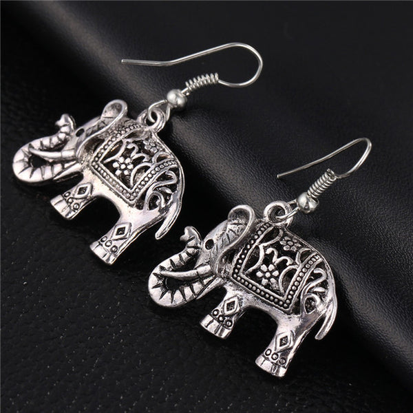 Hollow Carved Elephant Drop Earrings
