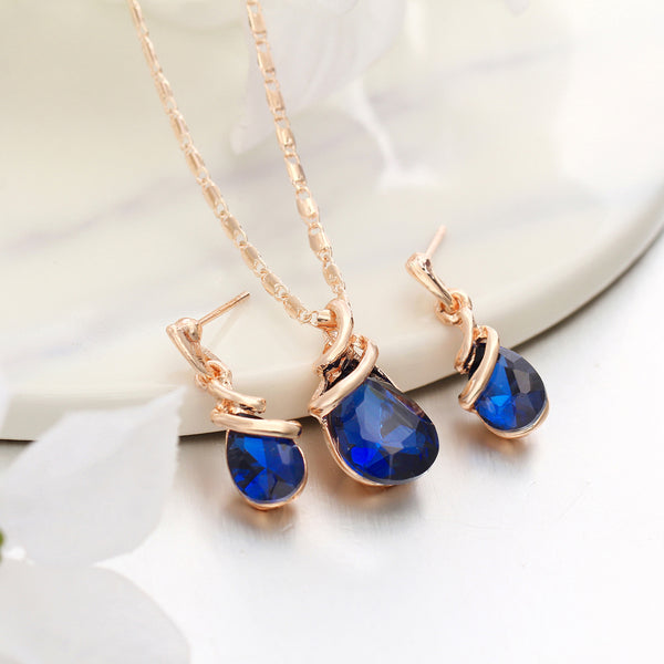 Water Drop Crystal Jewelry Set
