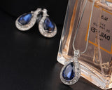 Blue Crystal Water Drop Jewelry Set