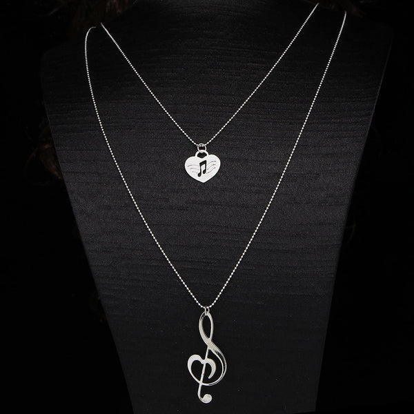 Musical Note & Heart Necklace