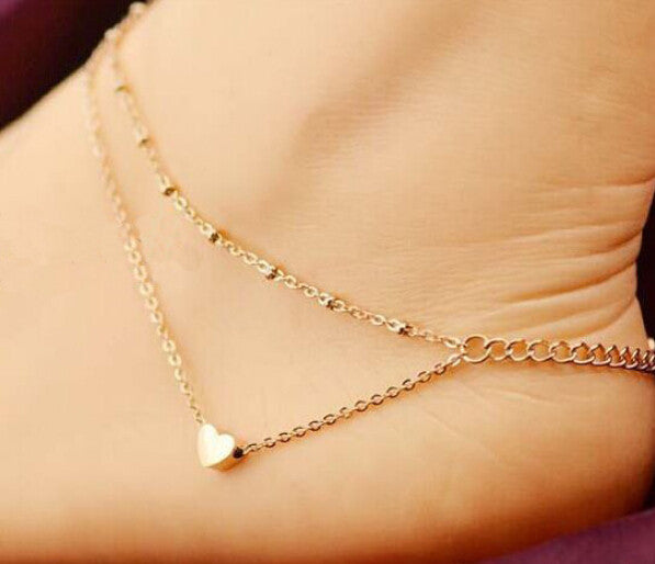 Twin Chain Heart Anklet