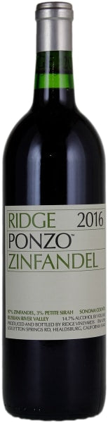 Ridge Vineyards Zinfandel Ponzo 2016
