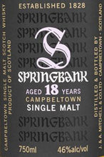Load image into Gallery viewer, Springbank Scotch Single Malt 18 Year-Wine Chateau