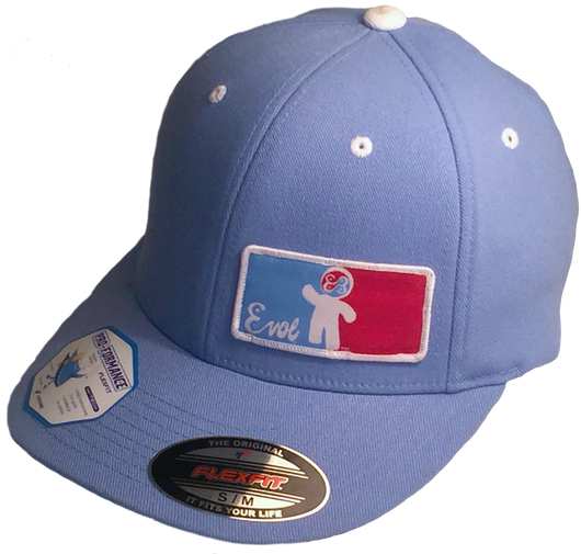 Sky Blue EhVul HERO Contrast Color Woven Patch Fitted Hat