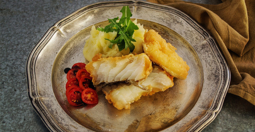 Give me 5! Roast cod with sweet potato chips