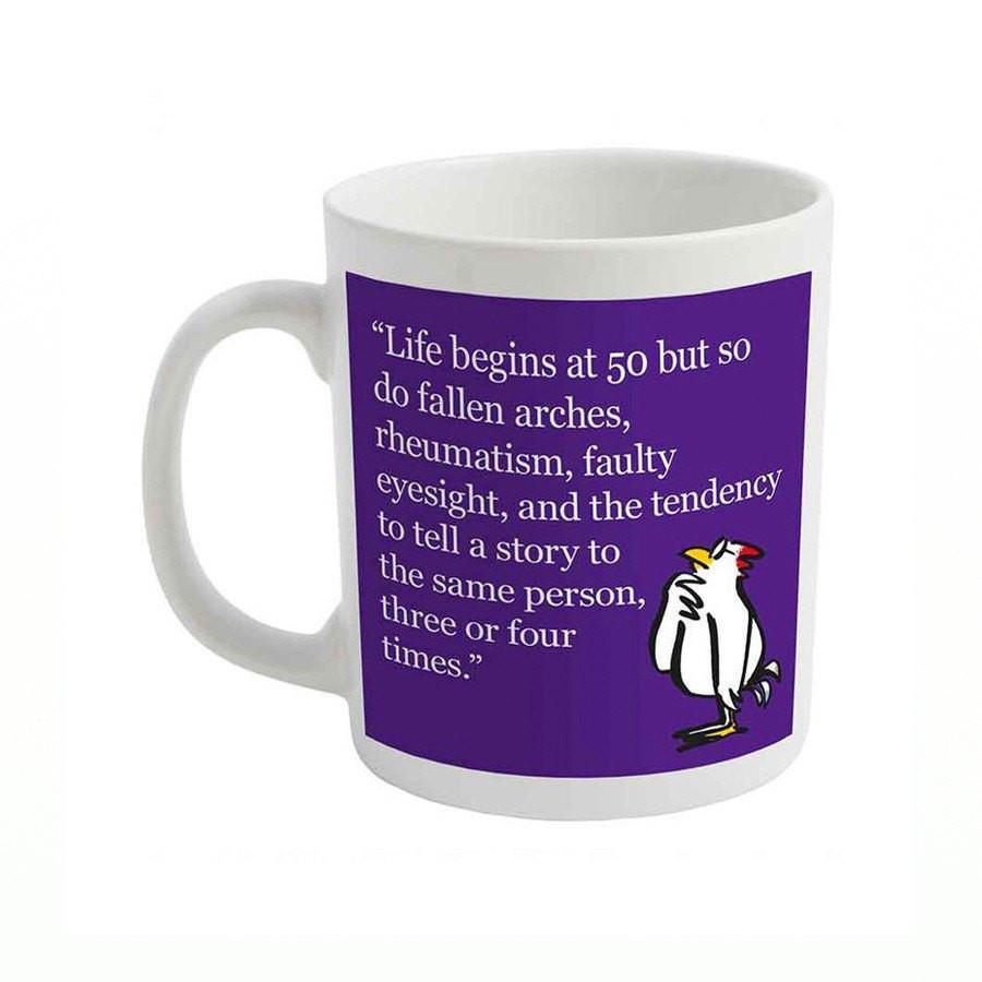 Life begins at 50 slogan mug