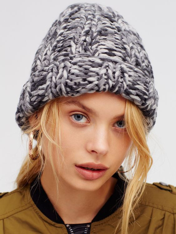 e408e4a480e1e Free People  Back to Basics Chunky Knit Beanie in Marled Grey