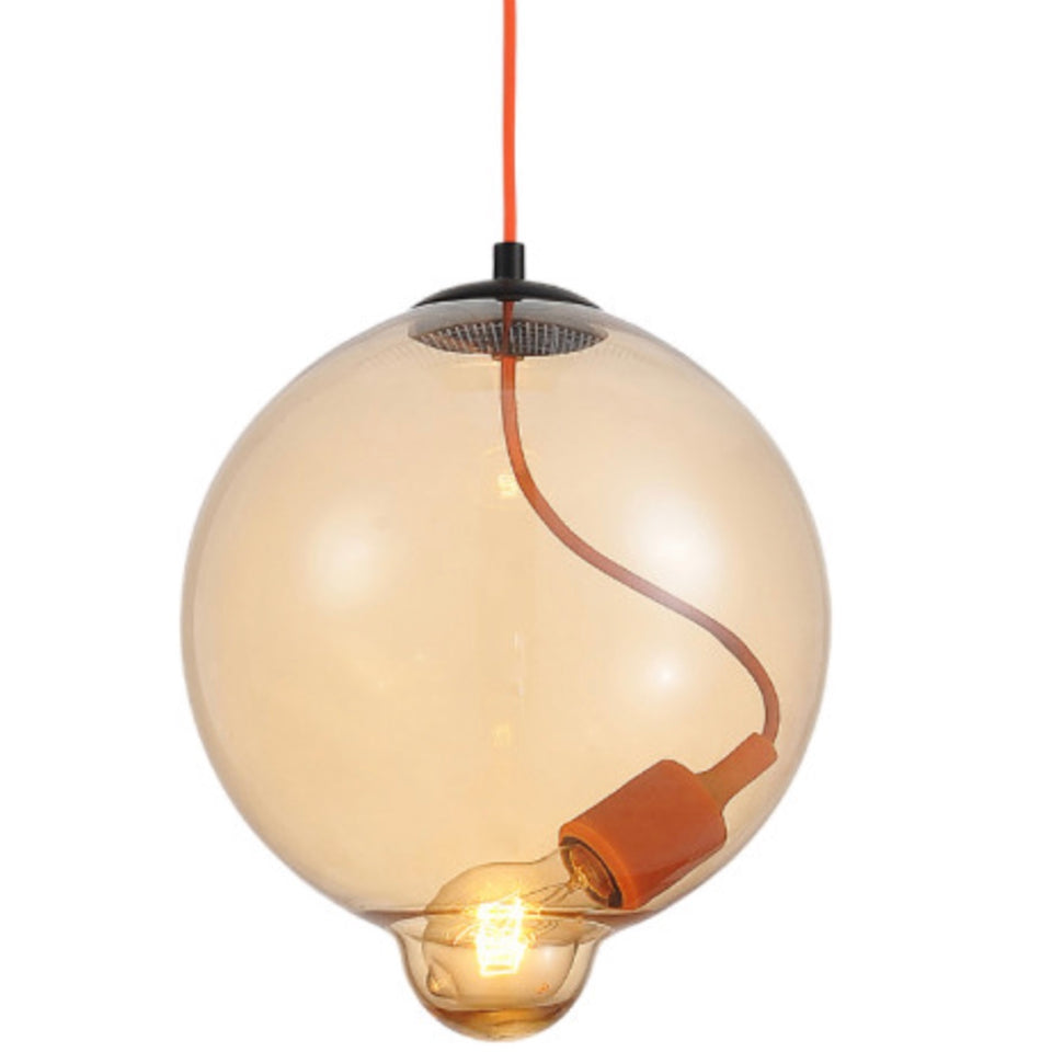 Orange Pendant Light. This Orange  Blown Glass Pendant Light is an interpretation and attempt to make something beautiful from the disastrous nuclear accident in Fukushima. It looks stunning hung in any kitchen or dining room. - houseofzanele.co.za