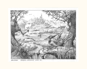 Belvedere Pencil Drawing | Rodney Matthews Studios