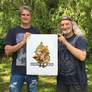 Jon Burton and Rodney Matthews with GameHut logo art