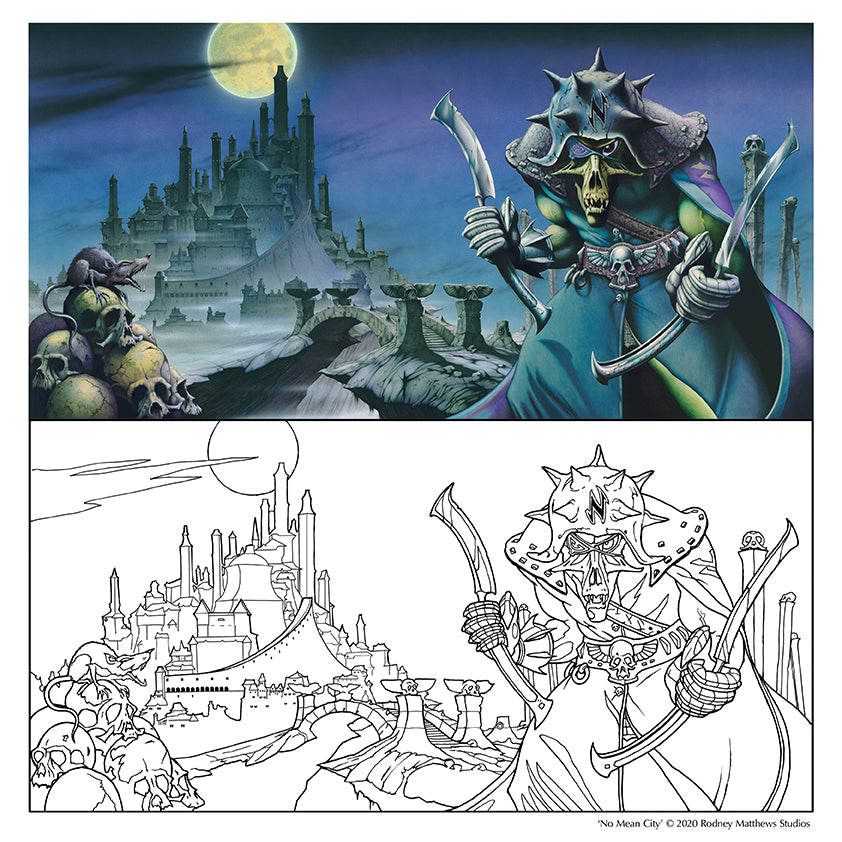 Free 'No Mean City' Colouring Sheet © 2020 Rodney Matthews Studios