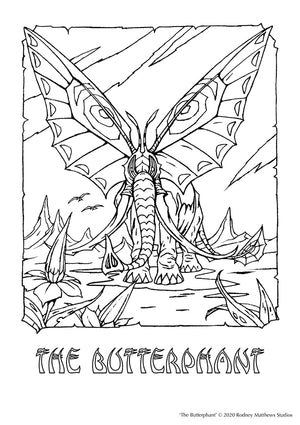 Free 'The Butterphant' Colouring Sheet | © 2020 Rodney Matthews Studios