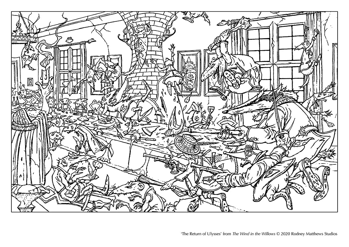 Free 'The Return of Ulysses' Colouring Sheet © 2020 Rodney Matthews Studios